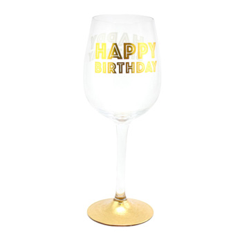 Product Image For Happy Birthday Wine Glass